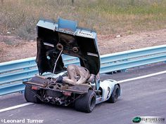 The Last Turn features images from renowned Porsche photographer Leonard Turner's personal archive. Today's pic features Derek Bell fixing his 917 on track.