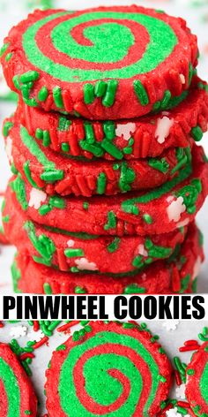 CHRISTMAS PINWHEEL COOKIES RECIPE- The best, colorful, easy, classic, old fashioned pinwheel cookies, homemade with simple ingredients. Perfectly crispy, buttery red and green sugar cookies for Christmas parties. Can also add white chocolate drizzle, date mixture, cinnamon gingerbread or peppermint flavor. From CakeWhiz.com #cookies #christmas #dessert #snack #pinwheel #baking