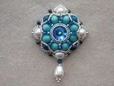 Bead Pendant, Jewelry, Tutorial, Pattern, Instructions, Beadweaving, Necklace, Beaded, Rivoli, Pearl, Swarovski, PDF, Digital Download