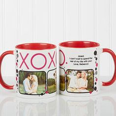 Hugs & Kisses Personalized Photo Coffee Mug