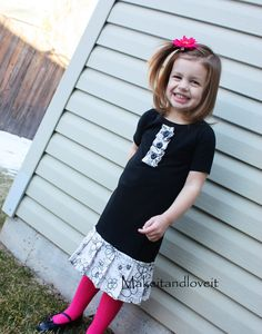 Re-Purposing: Girl's Dress ... Ready for a new re-purposing project? (Combine an old skirt and shirt together to make an adorable dress for your little girl)