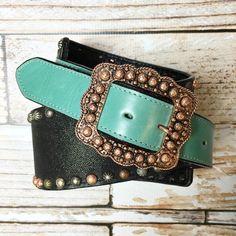 Double J Black & Turquoise Studded Belt