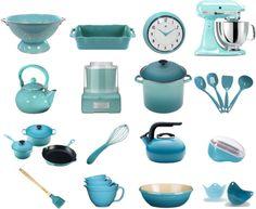 Brighten your kitchen with retro aqua kitchen tools and appliances.