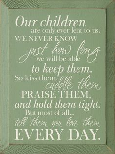 Our children are only ever lent to us. We never know just how long we will be able to keep them. So kiss them, cuddle them, praise them, and hold them tight. But most of all...tell them you love them every day.
