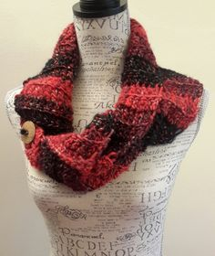 Crochet wool black with red  scarf. Chunky. Katniss inspired cowl. Red button cowl. Button scarf. by BeadGs on Etsy