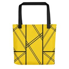 XAVI Yellow and Black Tote Bag. From our unique, beautiful, personal, and stunning tote bag collection. Designed to make you stand out and enjoy life. Beautiful Lines, New Journey, Black Tote Bag, Shopping Bag, Reusable Tote Bags, Yellow, Unique, Shopping Bags