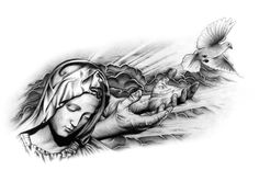 Ascendance by on deviantart dövme taslakları, jesus tattoo, tatoo, ins Tattoo Tod, Mary Tattoo, Death Tattoo, Religion Tattoos, Tattoo Design Drawings, Tattoo Sketches, Tattoo Designs, Back Piece Tattoo, Pieces Tattoo