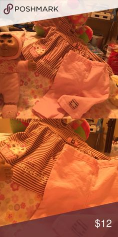 """Heavy cotton fancy chocolate/baby pink pantsuit """"Cute as a cupcake"""" appliqué. In EUC extra new like!JUST REDUCED! Child of Mine Matching Sets"""