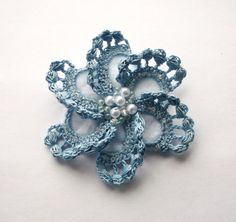 blue crochet brooch blue handmade crochet brooch by SuzieSue1972, £7.50