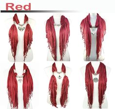 6 Styles Red Jewelry Scarf Fashion Winter Pendant Scarf Christmas Wholesale | eBay