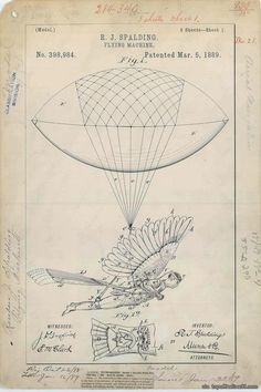 Beautiful patent drawing for R. J. Spalding's Flying Machine, 1889. Complement with the illustrated history of human flight and 100 diagrams that changed the world. via topoftheline99.com