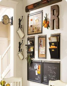 key hook/memo wall for the side of furnace wall -- include small basket or box for wallet drop