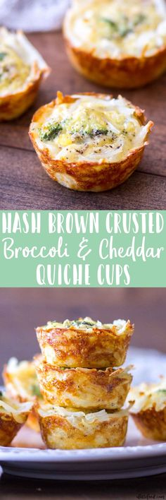 This homemade quiche recipe is for Hash Brown Crusted Broccoli and Cheddar Quiche Cups. These mini broccoli and cheddar quiche cups use hash Breakfast Party Foods, Breakfast Quiche, Breakfast For Dinner, Best Breakfast, Breakfast Cups, Christmas Breakfast, Homemade Breakfast, Paleo Breakfast, Breakfast Ideas