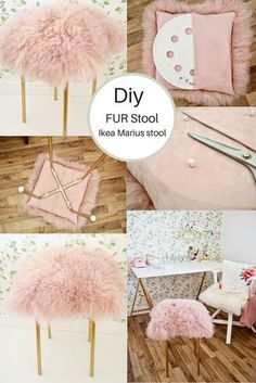 See how I hacked a Ikea Marius stool into a funky pink and gold Fur Stool. Using some Rustoleum bright gold spray paint and a Mongolian sheepskin cushion from TK Maxx I hacked my Ikea stool into a luxe fur stool. A fun IKEA hack. Diy Interior, Banco Ikea, Chaise Diy, Ikea Stool, Diy Stool, Vanity Stool Ikea, Ikea Hack Chair, Ikea Footstool, Vanity Bench