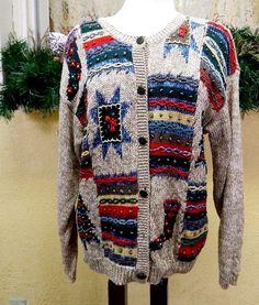 Christopher Banks Christmas Trees Stockings Stars Stripes Sweater ML Classic VTG #ChristopherBanks #Cardigan #Christmas
