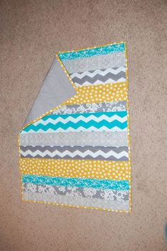 yellow and teal baby quilt | Teal Grey and Yellow Striped Baby Quilt by Nooches on Etsy