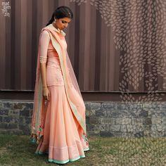 Pick hues of peach and salmon pink for wearing to this summer's wedding.  #summerwedding #summertimemadness #madsamtinzin #indianwear #resortwedding #springsummer