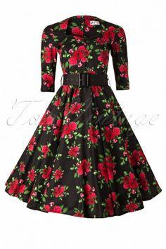 Bunny - Eternity 50s Black Swing Dress Red Roses