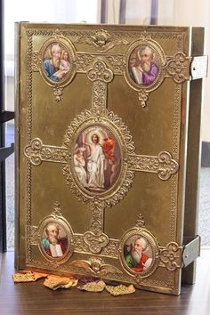 Book of the Holy Gospels which belonged to Archbishop Fulton Sheen written in the old Slavic language, as used in the Byzantine Liturgy.