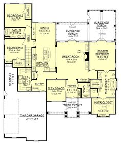 One Story Open Floor Plans with 4 bedrooms | Generous One-Story ...