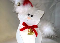 Christmas Kitty Card...with a red stocking hat & a bell...instructions.