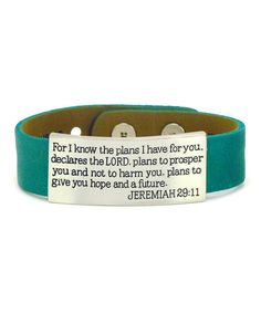 Look at this Turquoise Jeremiah 29:11 Leather Cuff on #zulily today!