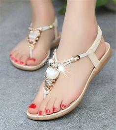 Sandals Flip Flops Shoes Thong Women New Flat Strap Size Gladiator T  Rhinestone