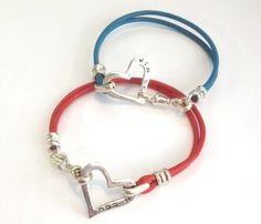 Unisex Israeli Handmade Kabbalah Leather Bracelet with Ana B'Koakh Engraved on Silver Heart - Blue or Red - Customizable & Made per Order