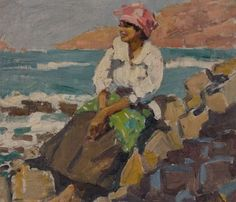 The Mana team visited the islands in 1913, this scene might have greeted them. Native Woman, Cape Verde Islands - Geoffrey Stephen Allfree (1889-1918).
