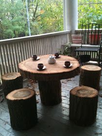 Tree stump table and stools.