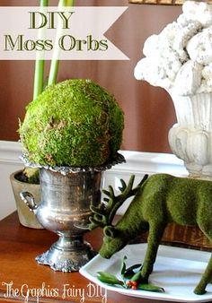(diy) Moss Orbs - love the mossy deer!!  <3