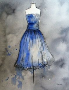 CLEARANCE - Vintage Dress Painting - Large Watercolor and Charcoal Painting - Gold Vintage Party Dress - 16x20. $100.00, via Etsy.
