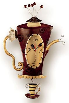 """Michelle & Gary Allen: Wall clock """"Coffee or tea?"""", hand-painted polymer cast"""