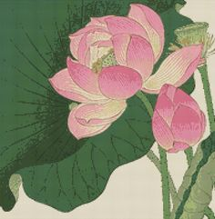 Cross stitch design: Flowering Lotus (Ohara Shoson)  Trivia: Koson, Ohara (Shoson) (Kanazawa, 1877 - Tokyo, 1945) By 1920 a Renaissance in the art of the Japanese woodcut had taken place. Termed Shin Hanga (New Prints), artists of this movement reestablished the importance of the Japanese woodcut. The most famous Shin Hanga designer of bird and flower prints (kacho-e), Ohara Koson studied Shijo school painting under Susuki Kason. In 1912 Koson changed his artists name to Shoson.  Design…