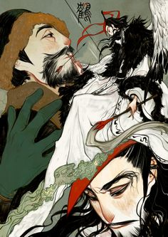 Hunter and Red-crowned crane - Painting process by Wavesheep.deviantart.com on @deviantART