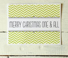 Custom Christmas Card Lime Green Holiday Card Personalized Colorful Chevron Christmas Card Holiday Stationery Note Cards - Set of 10. $12.00, via Etsy.