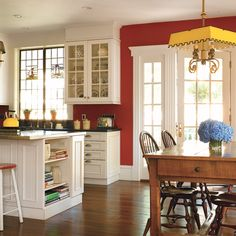 Find that perfect red for your kitchen! Primary colors in a kitchen are  always cheerful - complement the red