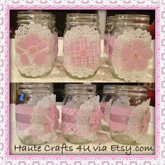 Chic and Unique Mason Jars For Any Occasion, Great For Kids Parties, Baby Shower, Baptism, Wedding etc..You can also used them as decoration, for candies or your Favorite Drink Haute Crafts 4u/shop/via Etsy..$8.00 or Hautecrafts4u@gmail.com