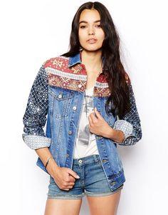 ASOS Denim Boyfriend Jacket with Embellished Sleeve UK Size 10  RRP £68.00