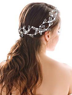 Handcess matrimonio fascia per capelli lunghi vite argento fiore cristallo  capelli catena accessori per spose e damigelle  Amazon.it  Bellezza 4866cc031841
