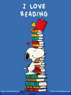 Snoopy, Woodstock & I Love Reading - Art by Charles SCHULZ (Cartoonist. USA, 1922-2000).  Peanuts © United Features Syndicate, Inc.  Peanuts Website & Shop:    http://www.Peanuts.com  Support the Charles M Shulz Museum                                               http://SchulzMuseum.org