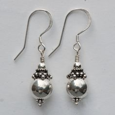 "Sterling silver 10mm rounds, India sterling silver beads, sterling silver ear wires, 1 3/8"" long."