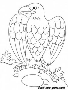 Coloring Pages Eagle from Printable Eagle Coloring Pages. The eagle is a bit like the lion is to the jungle, the king of the birds. there are sparrows on one side and eagles on the other. Free Kids Coloring Pages, Farm Animal Coloring Pages, Coloring Pages To Print, Coloring Book Pages, Printable Coloring Pages, Coloring Pages For Kids, Coloring Sheets, Bird Template, Applique Templates