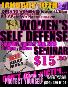 Women's Self Defense EVERY MONTH! This Month's is January 16th, 11:30am-1:00pm. Sign up Today:https://clients.mindbodyonline.com/classic/ws?studioid=24219&stype=-8&sTG=23&sVT=20&sView=day&sLoc=1