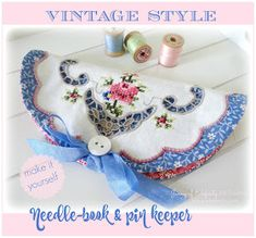 Tutorial - Vintage Style Needle-book @ Jenny of Elefantz Vintage Embroidery, Embroidery Patterns, Hand Embroidery, Embroidery Alphabet, Embroidery Stitches, Sewing Hacks, Sewing Crafts, Sewing Projects, Sewing Kits