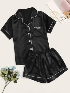 To find out about the Letter Embroidered Button-up Satin PJ Set at SHEIN, part of our latest Night Sets ready to shop online today!