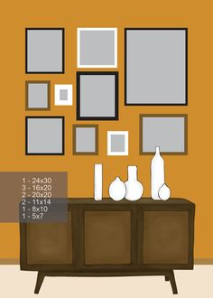 (for red chinosiere piece) photo display on wall; vase collection (maybe the wood pieces?)