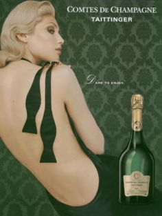 Taittinger Champagne Poster Art. artist is unknown. What I like about this poster is the seduction of it. The woman in black is posed with a mans bow tie draped over her shoulder. suggests he has already dared to enjoy..