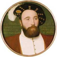 """Vice-Admiral George Carew, who perished with the Mary Rose; contemporary miniature by Hans Holbein the Younger. The bones of a total of 179 individuals were found during the excavations of the Mary Rose, including 92 """"fairly complete skeletons"""", more or less complete collections of bones associated with specific individuals. Analysis of these has shown that crew members were all male, most of them young adults. Some were no more than 11–13 years old, and the majority (81%) under 30."""