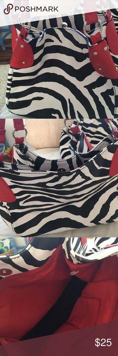 "Adorable bag Adorable bag with zebra stripes snap closure read detailing and handles lining inside to slit pockets one zipper pocket inside dimensions are12"" across 10"" deep9"" handle drop  6"" bottom adorable bag vegan leather Bags Shoulder Bags"